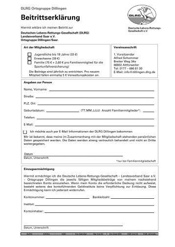 Beitrittserklärung - DLRG Dillingen