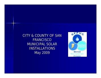 CITY & COUNTY OF SAN FRANCISCO MUNICIPAL SOLAR ...