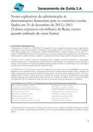 Notas explicativas da administração às demonstrações ... - Saneago