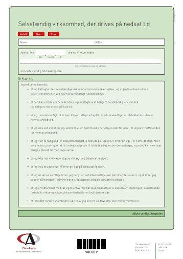 Erklæring om selvstændig bibeskæftigelse - CA a-kasse