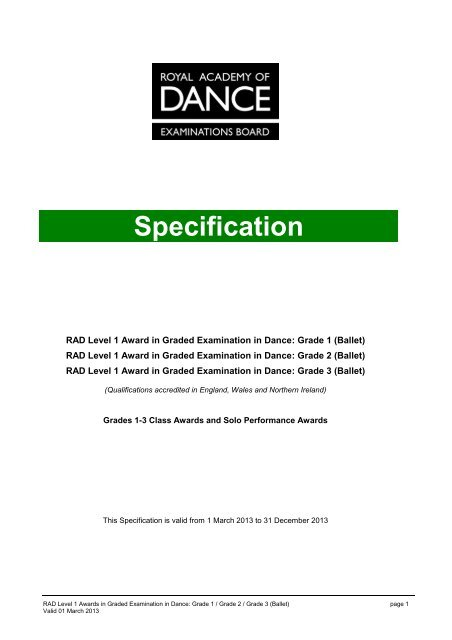 QCF Grades 1-3 Specification - Royal Academy of Dance
