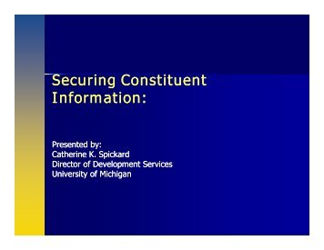 Securing Constituent Securing Constituent Information: - Supporting ...