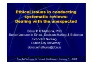 Ethical issues in conducting systematic reviews: Dealing with ... - DCU