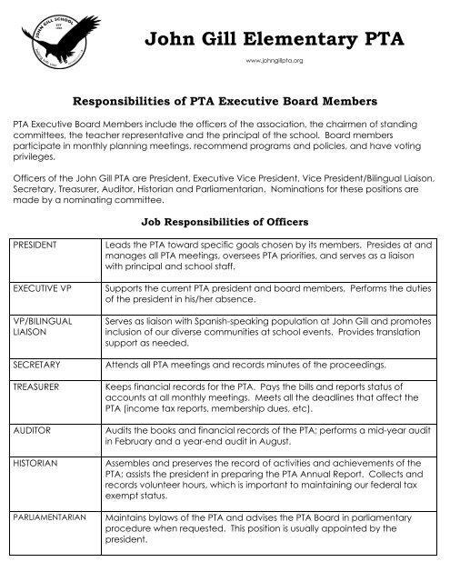 Board Member Job Descriptions - John Gill PTA