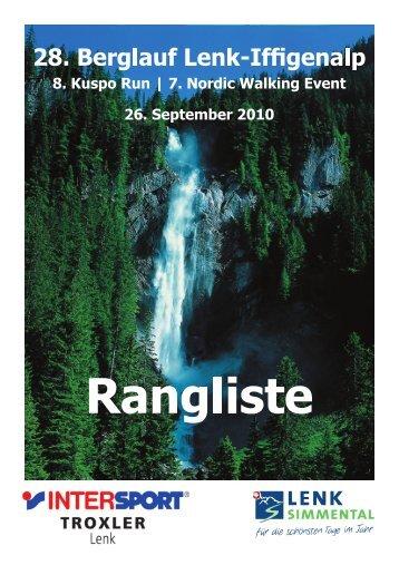 Rangliste Berglauf und Nordic Walking - Skiclub Lenk im Simmental