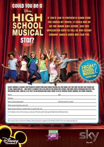 Disney High School Musical Application Form