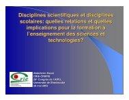 Disciplines scientifiques et disciplines scolaires - Centre de ...