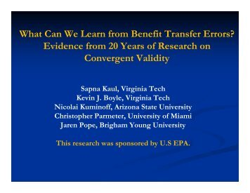 What Can We Learn from Benefit Transfer Errors? Evidence from 20 ...
