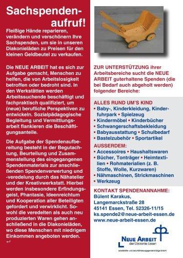 Sachspenden- aufruf! - Neue Arbeit der Diakonie Essen