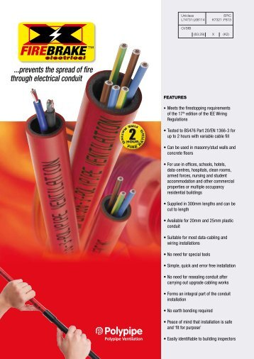 ...prevents the spread of fire through electrical conduit - Polypipe
