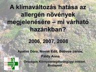 Az időjárás hatása a pollenszórásra Apatini Dóra, Novák Edit ...