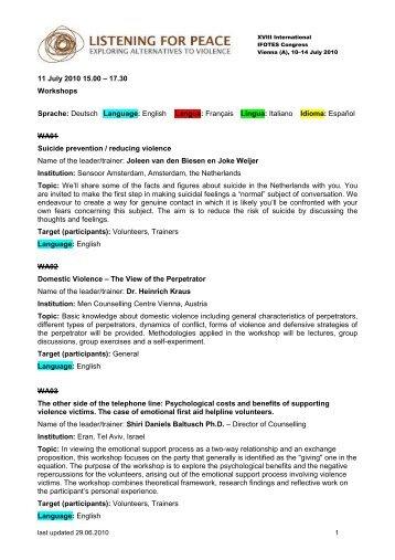 11 July 2010 15.00 – 17.30 Workshops Sprache: Deutsch Language ...
