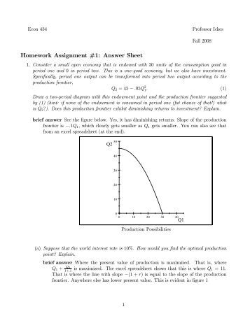 assignment 1 answers Get homework answers from experts in math, physics, programming, chemistry, economics, biology and more submit your question, choose a relevant category and get a detailed answer for free.