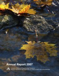 Annual Report 2007 - Canadian Alliance of Physiotherapy Regulators