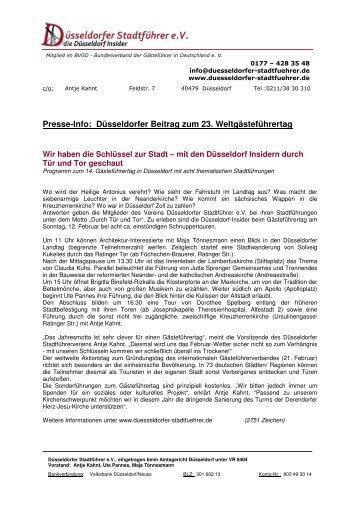 Wir haben die Schlüssel zur Stadt - Düsseldorfer Stadtführer e.v.