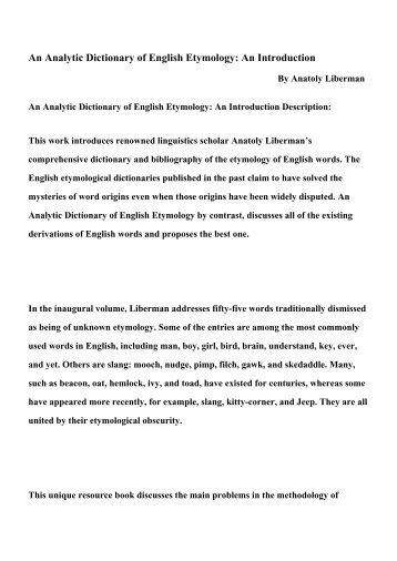 an analytic dictionary of english etymology Google book official an analytic dictionary of english etymology an introduction summary pdf book: an analytic dictionary of english etymology an introduction.