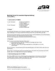 Merkblatt Kurse für erweiterte Allgemeinbildung - BFF Bern