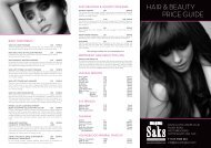 Beauty price list - Saks Hair and Beauty
