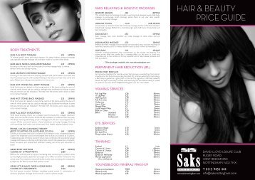 Beauty price list - Saks Hair and Beauty