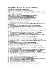 Psychology Review Worksheet - Reeths-Puffer Schools