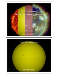 The solar atmosphere I Structure and quiescent dynamics Visible ...