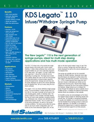 KDS 310 Datasheet v5 - KD Scientific Syringe Pumps