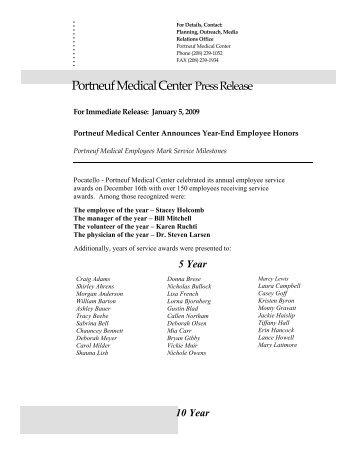 01-05-2009 Portneuf Medical Center Announces Year ]End ...