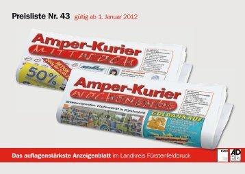 Preisliste Nr. 43 gültig ab 1. Januar 2012 - Amperkurier Online