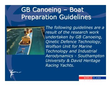 GB Canoeing – Boat Preparation Guidelines
