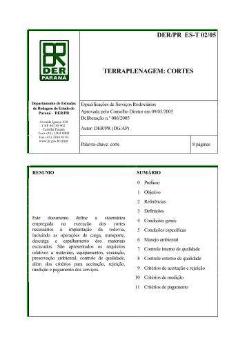 DER/PR ES-T 02/05 TERRAPLENAGEM: CORTES