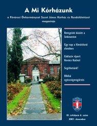 A Mi Kórházunk: 2001. december ( III/6) - Szent János Kórház