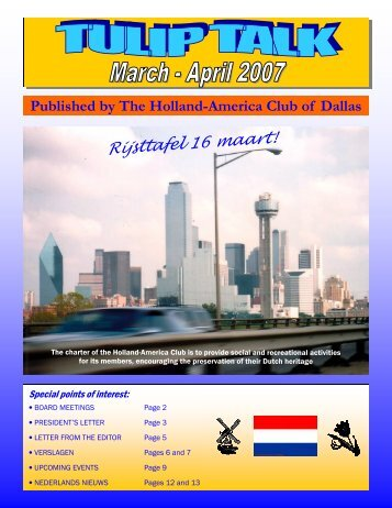 Letter from the Editor - Holland-America Club of Dallas