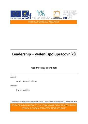 Leadership – vedení spolupracovníků - Centrum pro rozvoj výzkumu ...