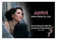 Artini China Co. Ltd. - TodayIR.com