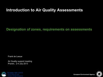 Introduction to Air Quality Assessments - Eionet Forum - Europa
