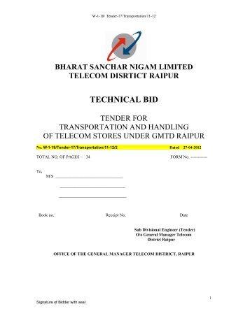 bharat sanchar nigam limited telecom disrtict raipur technical bid