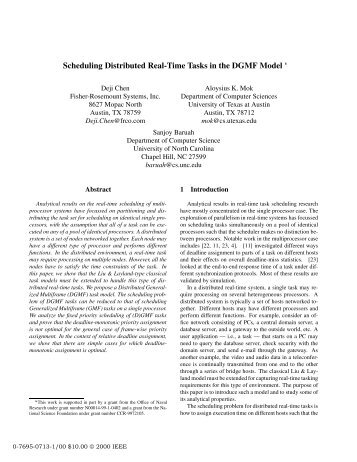 Scheduling Distributed Real-Time Tasks in the DGMF Model