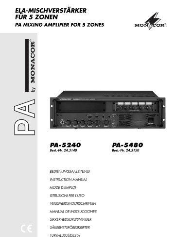 ELA-MISCHVERSTÄRKER FÜR 5 ZONEN PA-5240 PA-5480