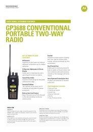 GP3688 Specification Sheet - Motorola Solutions