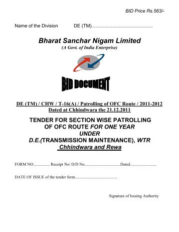Bharat Sanchar Nigam Limited - WTR - BSNL