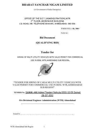 BHARAT SANCHAR NIGAM LIMITED Tender for - WTR - BSNL