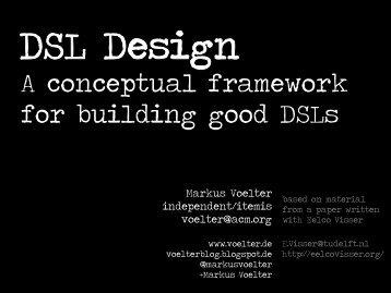 A conceptual framework for building good DSLs - Voelter