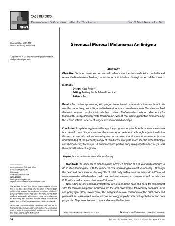 Sinonasal Mucosal Melanoma: An Enigma Ullah H, Baig ... - PSO-HNS