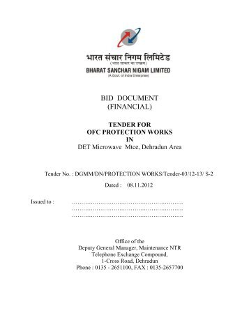 tender for ofc protection works in - BSNL