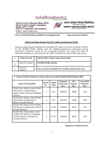 1 Notice Inviting Tender for O.F. Cable Construction Work. - BSNL