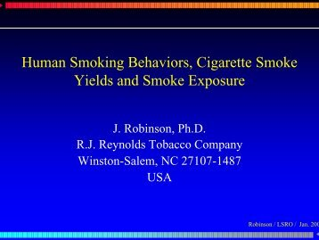 Human Smoking Behaviors, Cigarette Smoke Yields and Smoke ...