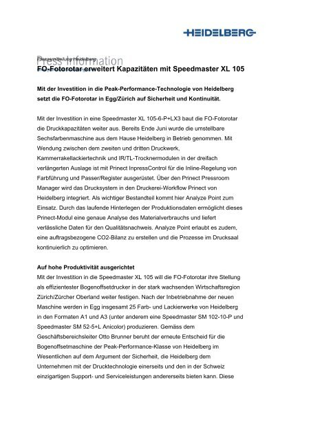 Fo-Fotorotar erweitert Kapazitäten mit Speedmaster XL 105