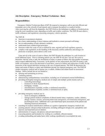 Job Description Volunteer Firefighter/emergency Medical Technician Amazing Ideas