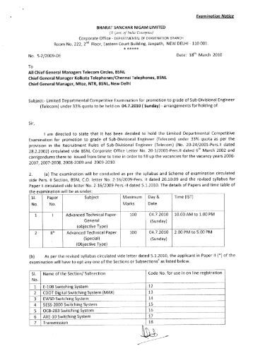 Examination Notice BHARAT SANCHAR NIGAM LIMITED - aibsnlea