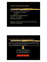 VHDL et la synthèse logique Les enjeux de la synthèse automatique